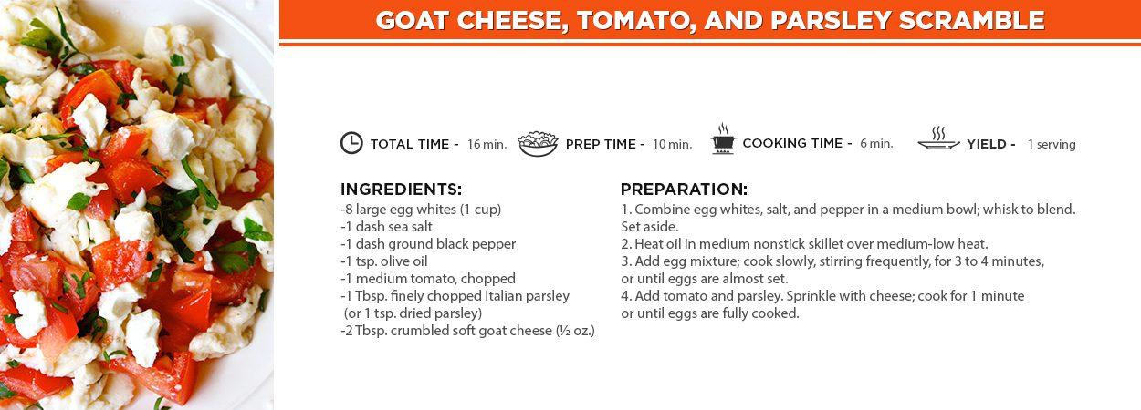 Goat Cheese, Tomato, and Parsley Scramble