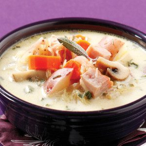 Golden Potato Chowder with Ham & Mushrooms