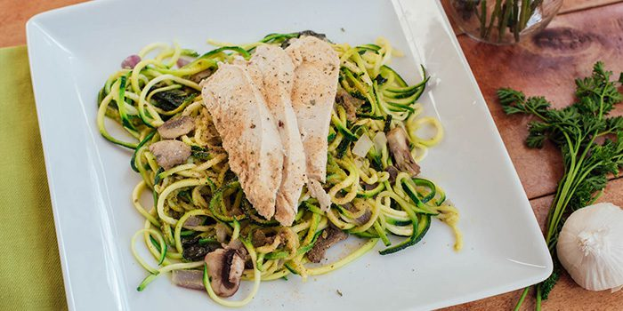 Pesto Zucchini Noodles with Chicken