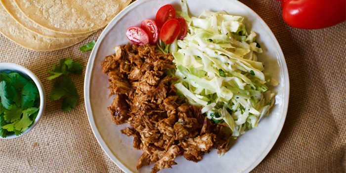 Pulled Chipotle Chicken with Cilantro Slaw.