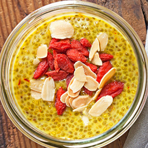 Chia Pudding with Turmeric, Almonds and Goji Berries