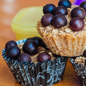Baked Oatmeal Cups with Berries and Bananas