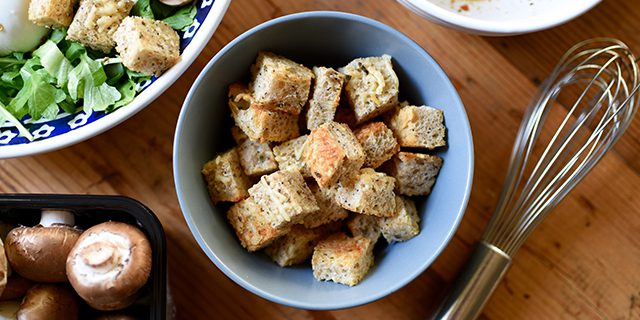 Homemade Croutons with Parmesan and Herbs