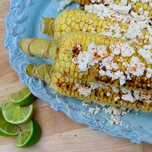 Grilled Corn with Chili, Cheese, and Lime