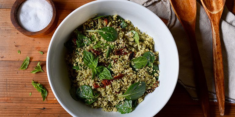 Quinoa with Sun-Dried Tomatoes and Pesto