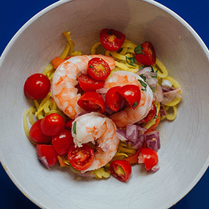Carrot and Squash Noodles With Shrimp and Tomatoes