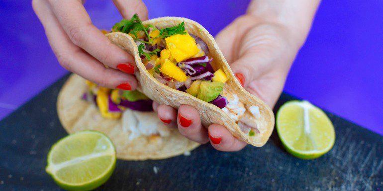 Fish Tacos with Fresh Mango Avocado Salsa