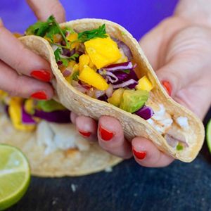 Fish Tacos with Fresh Mango Avocado Salsa