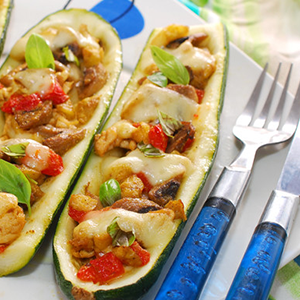 Mexican Chicken Zucchini Boats