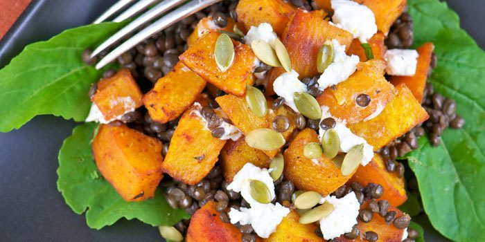 roasted-pumpkin-salad-with-lentils-and-goat-cheese